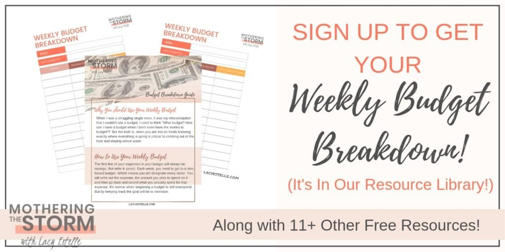 Weekly Budget Breakdown PDF, Broke Single Mom Budget Starter